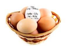Oeufs bons dans le panier avec le diagramme de calories d'oeufs Photos stock