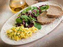 Oeufs brouillés avec la salade mixte images libres de droits