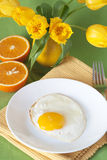 Oeufs brouillés et oranges Photo libre de droits