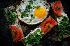 Oeufs brouillés et sandwichs avec du fromage, les verts et la tomate dans un style rustique Le cadre horizontal Photos libres de droits