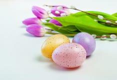 Oeufs colorés avec des tulipes sur le fond blanc Pâques, vacances de ressort photo stock