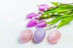 Oeufs colorés avec des tulipes sur le fond blanc Pâques, vacances de ressort photographie stock libre de droits