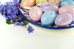 Oeufs colorés avec des violettes sur le fond blanc Pâques, vacances de ressort photo libre de droits