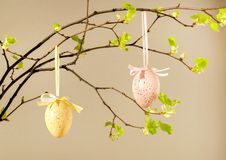 Oeufs colorés avec les feuilles fraîches sur le fond rose Pâques, vacances de ressort image libre de droits