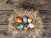 Oeufs colorés de Pâques dans le nid sur le fond en bois Image stock