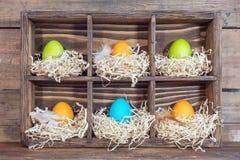 Oeufs colorés de Pâques dans les nids Photo stock