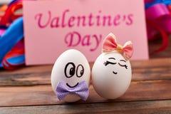 Oeufs d'amour le jour du ` s de Valentine Photo libre de droits