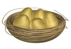 Oeufs d'or dans l'emboîtement Images stock