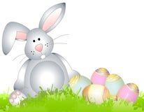 Oeufs d'herbe de source de lapin de Pâques illustration libre de droits