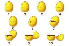 Oeufs d'or, oeuf de 10 animations d'étapes Symbole de Pâques de vecteur Normal, endommagé et cassé illustration libre de droits