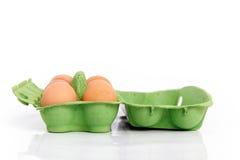 Oeufs dans le cadre vert. Photo stock
