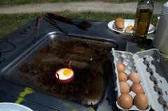 Oeufs de BBQ sur le gril Photos libres de droits