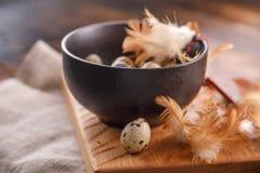 Oeufs de caille dans la tasse en céramique, serviette, panneau en bois sur la table en bois Oeufs de caille semblables en couleur Photo stock