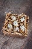 Oeufs de caille dans un panier en bois Photos libres de droits