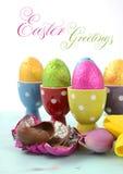 Oeufs de chocolat heureux de Pâques Image stock
