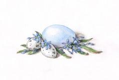 Oeufs de pâques avec des fleurs de scilla illustration de vecteur