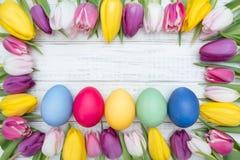 Oeufs de pâques avec des tulipes Photos stock