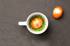 Oeufs de pâques avec la théière Image stock