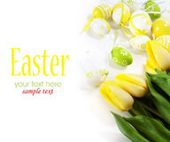 Oeufs de pâques avec les fleurs jaunes de tulipe Image libre de droits