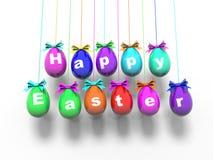 Oeufs de pâques avec les mots - Joyeuses Pâques 3d rendent Photographie stock