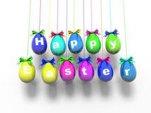 Oeufs de pâques avec les mots - Joyeuses Pâques 3d rendent Images stock