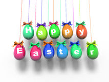 Oeufs de pâques avec les mots - Joyeuses Pâques 3d rendent Image stock