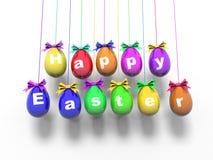 Oeufs de pâques avec les mots - Joyeuses Pâques 3d rendent Images libres de droits