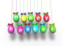 Oeufs de pâques avec les mots - Joyeuses Pâques 3d rendent Photographie stock libre de droits