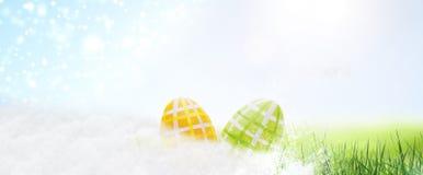 Oeufs de pâques cachés dans l'herbe image stock