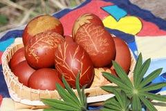 Oeufs de pâques colorés avec le modèle dans une cuvette photographie stock