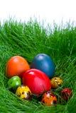 Oeufs de pâques colorés dans l'herbe Photos libres de droits