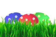 Oeufs de pâques colorés dans l'herbe verte Images libres de droits