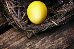 Oeufs de pâques colorés dans un nid sur le fond en bois Image libre de droits