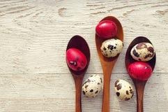 Oeufs de pâques colorés de cailles dans des cuillères en bois Photos libres de droits