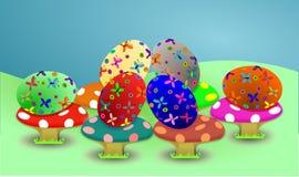 Oeufs de pâques colorés drôles Photographie stock