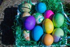 Oeufs de pâques colorés multi dans l'herbe en plastique verte Photographie stock
