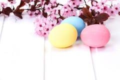 Oeufs de pâques colorés par pastel Photos libres de droits