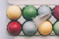 Oeufs de pâques colorés par pastel avec la plume Images libres de droits