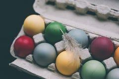 Oeufs de pâques colorés par pastel avec la plume Images stock