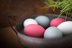 Oeufs de pâques colorés par pastel dans une cuvette Photo libre de droits