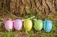 Oeufs de pâques colorés par pastel derrière un tronc d'arbre Photographie stock