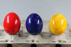 Oeufs de pâques colorés sur un plateau d'oeufs Photographie stock