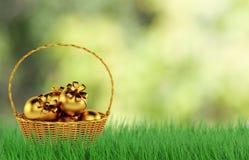 Oeufs de pâques d'or dans l'herbe verte fraîche 3d rendent Photos stock