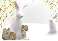Oeufs de pâques d'or et lapins blancs illustration libre de droits