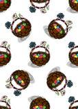 Oeufs de pâques dans le modèle sans couture de panier Images libres de droits