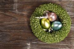 Oeufs de pâques dans le nid Photographie stock libre de droits