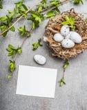 Oeufs de pâques dans le nid avec les brindilles de ressort et la carte vierge de livre blanc Photo stock