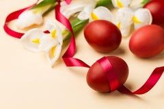 Oeufs de pâques dans le nid blanchâtre et les fleurs blanches Image stock