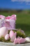 Oeufs de pâques dans le rose avec un cadeau et un ciel bleu Photographie stock