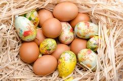 Oeufs de pâques dans un nid Images stock